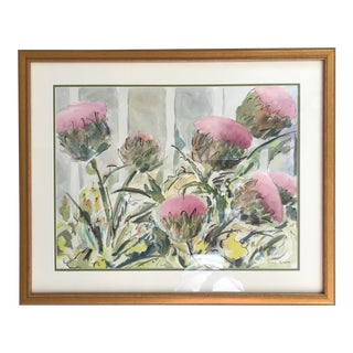 Thistle Flower Garden Original Watercolor Painting Botanical Still Life Sw Florida Artist Nancy Brown For Sale