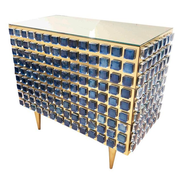 Blue Glass and Brass Chest / Cabinet by Interno 43 for Gaspare Asaro For Sale - Image 8 of 8
