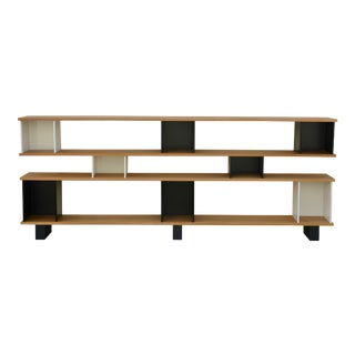 "Design Frères Low Oak Black and White ""Horizontale"" Shelving Unit For Sale"