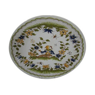 French Mid Century Porcelain Moustiers 18c Style Plate For Sale