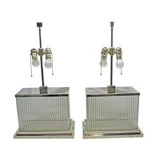 Mid Century Modern Short Art Deco Glass Rod Table Lamp Pair For Sale