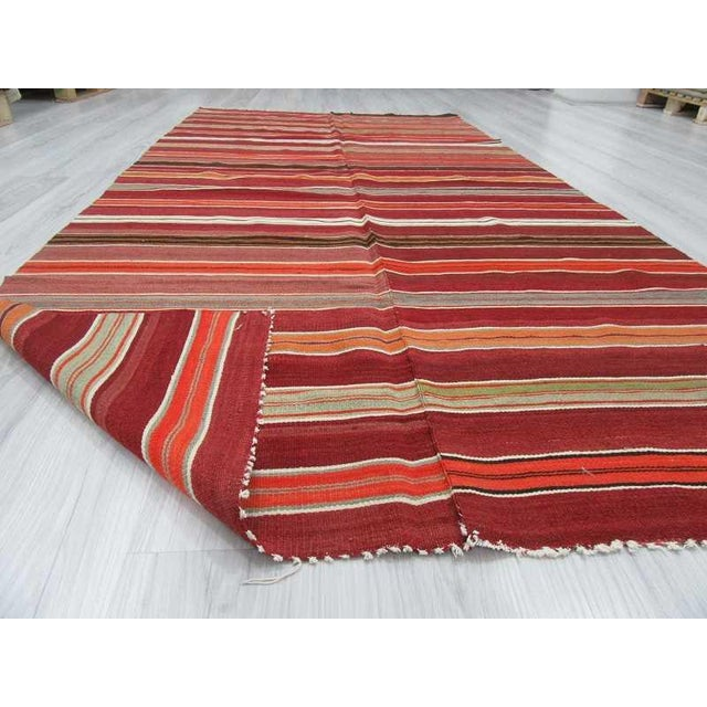 "Vintage Striped Turkish Kilim Rug - 4'11"" X 9'9"""