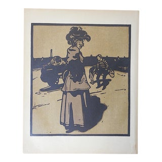 Antique Lithograph-London Types-Working Girl For Sale