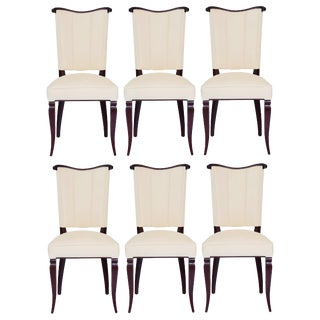 Set of Six Jules Leleu Style Art Deco Dining Room Side Chairs in Mahogany Wood and Ultra-Suede Fabric