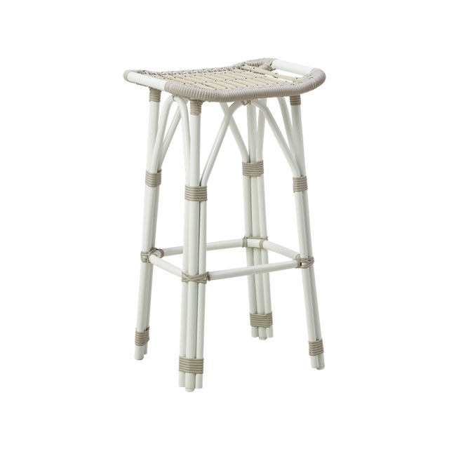 Not Yet Made - Made To Order Salsa Exterior Bar Stool - Dove White For Sale - Image 5 of 5