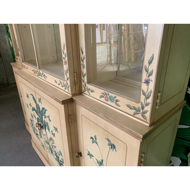 Hollywood Regency Hand Painted China Cabinet by Drexel For Sale - Image 3 of 7