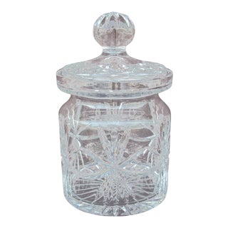 1970s Vintage Cut Glass Biscuit Jar For Sale