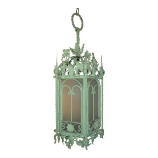 Wrought Iron and Frosted Glass Lantern