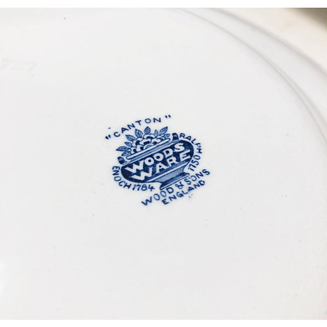 Antique Blue & White Canton Pattern China Collection - Set of 14 For Sale - Image 11 of 13