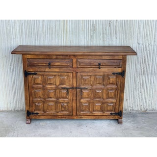 19th Century Catalan Spanish Baroque Carved Walnut Tuscan Credenza or Buffet Preview