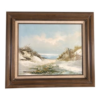 1950s Mid-Century Beach Scenic Oil on Board in Original Frame, Post War Signed For Sale