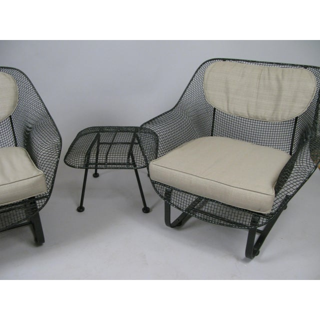 1950s Woodard Sculptura Lounge Chairs & Ottoman - Set of 3 For Sale - Image 5 of 7