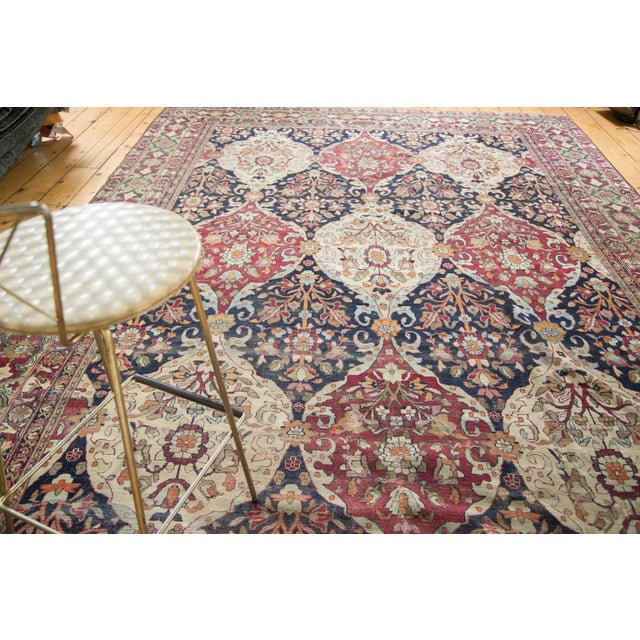 "Ivory Unusual Antique Lavar Kerman Carpet - 8'6"" X 11'10"" For Sale - Image 8 of 10"