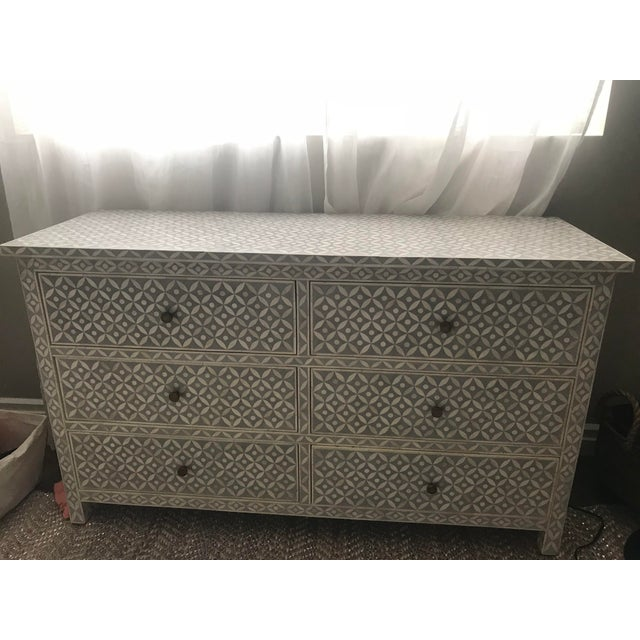 Bone Vintage Restoration Hardware Rh Salma Mosaic Dresser For Sale - Image 7 of 7