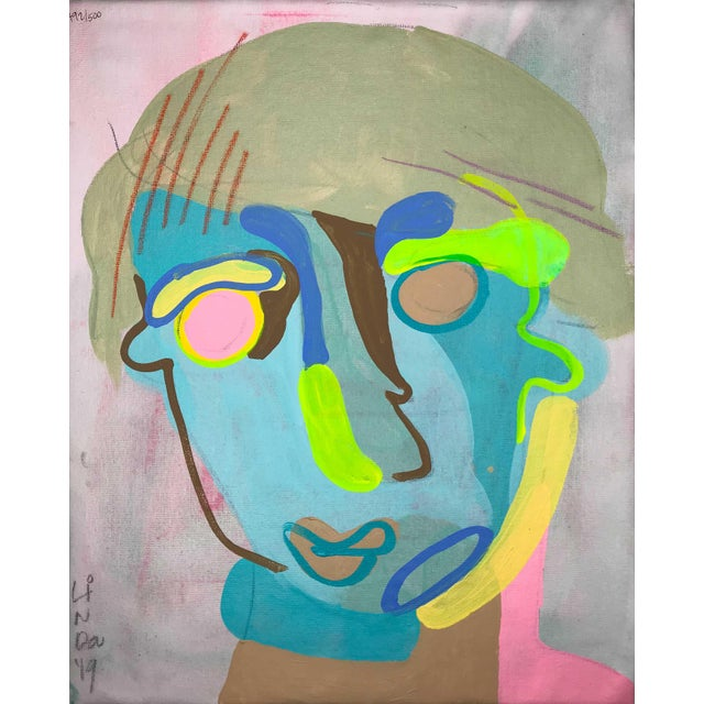 "Canvas Contemporary Abstract Portrait Painting ""Let's Have Some Fun, No. 3"" For Sale - Image 7 of 7"