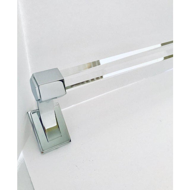 Art Deco Vintage Faceted Glass and Nickel Towel Holder For Sale - Image 3 of 13