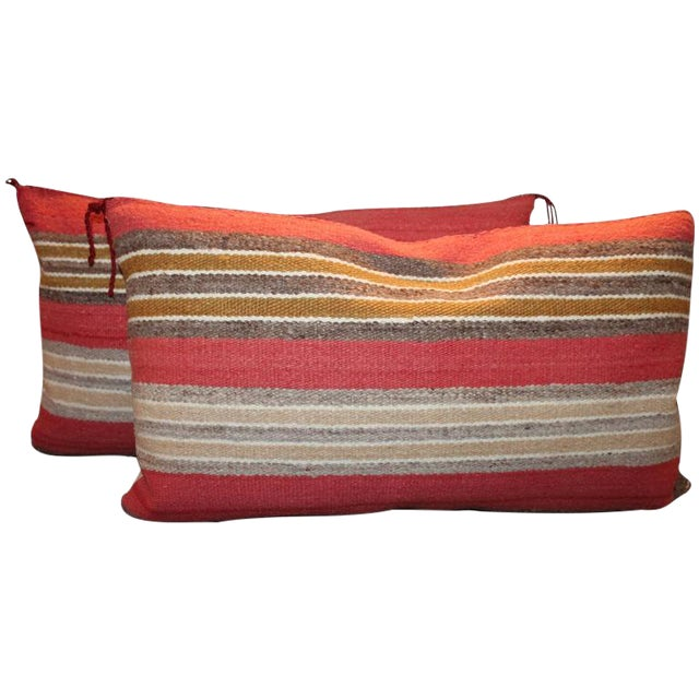 Navajo Indian Handwoven Saddle Blanket Pillows For Sale