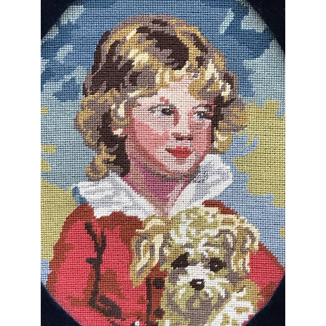 Figurative Precious Petite Hand Made Needlepoint Art Piece of a Golden Haired Boy and His Dog For Sale - Image 3 of 7