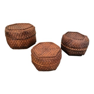 Vintage Woven Cane Rattan Nesting Baskets - Set of 3 For Sale