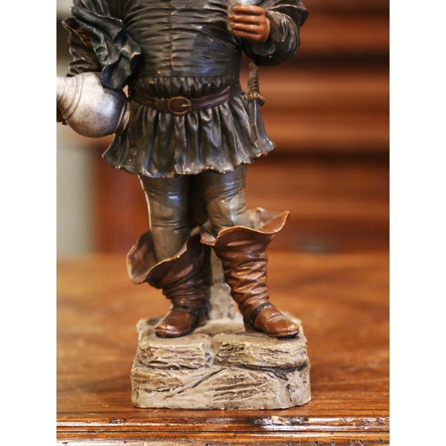 19th Century French Polychrome Terracotta Musketeer Beer Drinker Figurine For Sale - Image 4 of 10