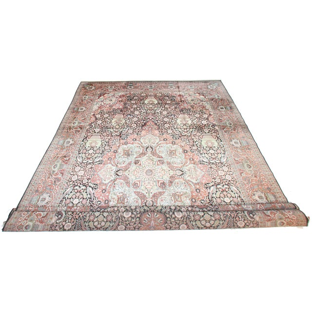 Vintage hand knotted silk Kashmir rug with Persian design. In pink and gray tones with bird and floral motif.