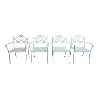 Vintage Cast Aluminum Outdoor Patio Dining Chairs - Set of 4