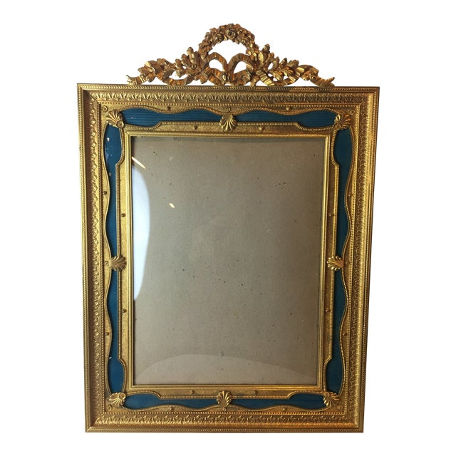 Antique French Gilt Bronze Ormolu & Green Guilloche Enamel Picture Frame For Sale