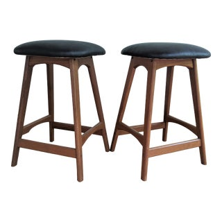 Teak Leather Bar Stools - a Pair For Sale