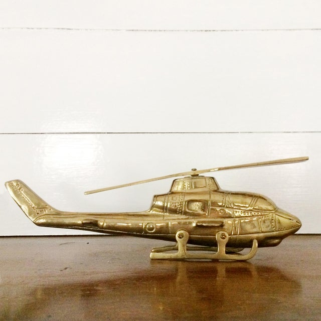 Brass 1960s Solid Brass Helicopter With Moving Propeller For Sale - Image 7 of 7