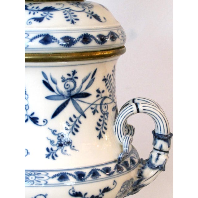 White Meissen Blue Onion Pattern Oil Lamps by Whiteley's Dept. Store, London - a Pair For Sale - Image 8 of 10