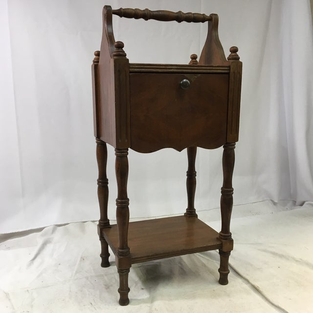 Antique Oak Copper-Lined Humidor Smoking Side Table For Sale - Image 12 of 12
