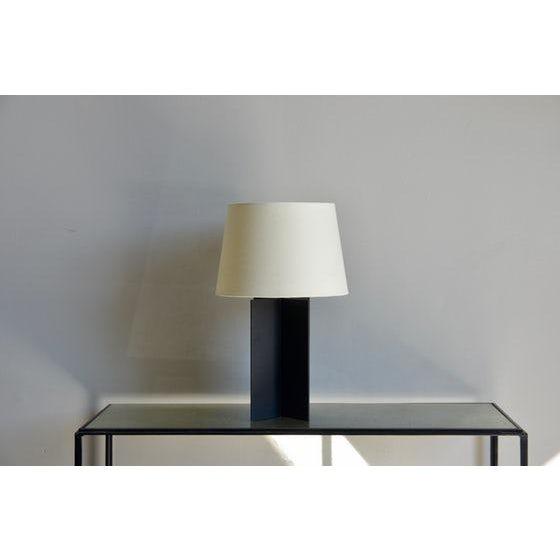 "Contemporary ""Croisillon"" Matte Black Steel and Parchment Lamp For Sale - Image 4 of 8"