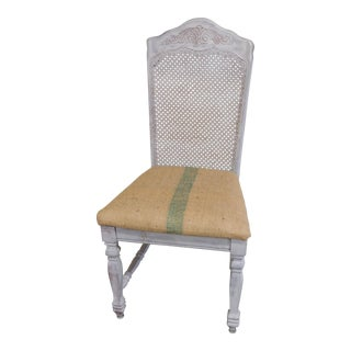 Vintage Heather Gray Burlap Accent Dining Chair