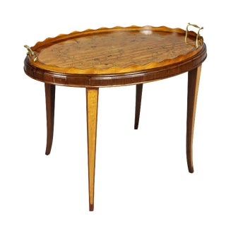 Edwardian Satinwood and Marquetry Tray Table For Sale