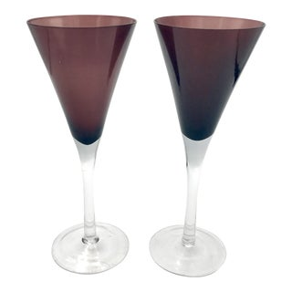 Vintage Amethyst Crystal Glassware - a Pair For Sale