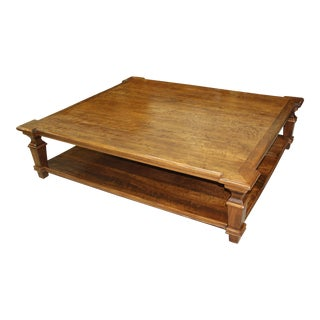 1900s French Country Solid Walnut Coffee Table For Sale
