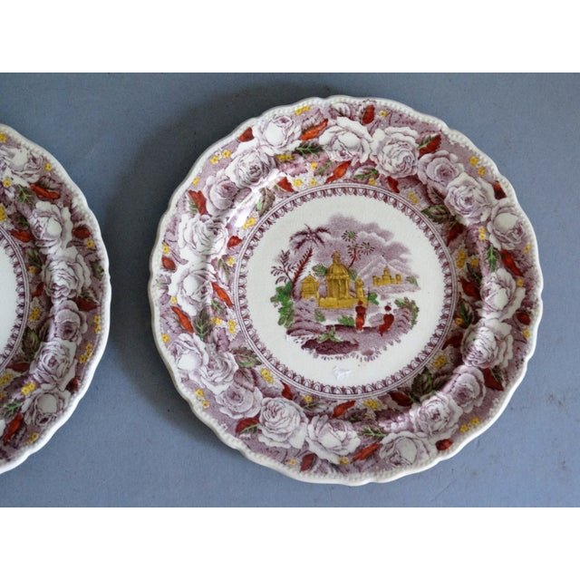 Late 19th Century Antique Ridgways 'Oriental' Mulberry Purple Plates, a Pair For Sale - Image 5 of 6