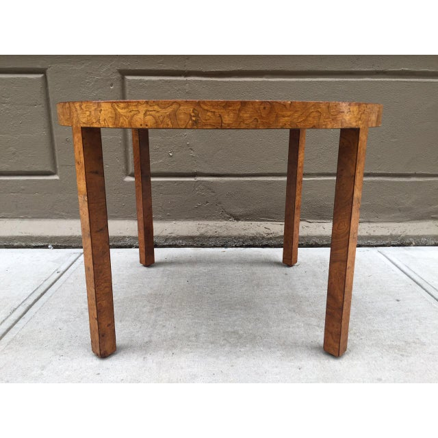 Art Deco round burl wood table.
