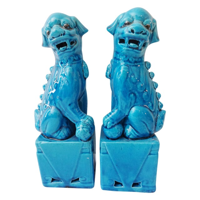 Turquoise Porcelain Foo Dogs - A Pair - Image 1 of 7