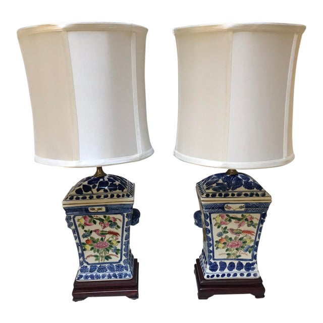 Porcelain Lamps With Silk Shades - a Pair For Sale