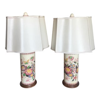 Vintage Floral Table Lamps - A Pair For Sale