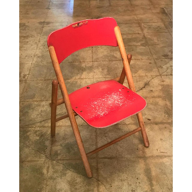 Swell Vintage Red Childrens Wood Folding Chair Caraccident5 Cool Chair Designs And Ideas Caraccident5Info