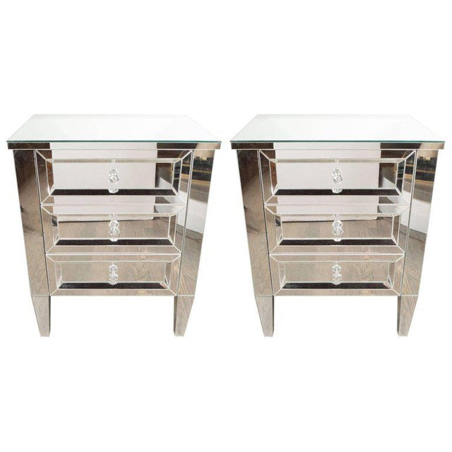 Contemporary Directoire Style Custom Mirrored Nightstands with Three Drawers - a Pair For Sale - Image 10 of 10