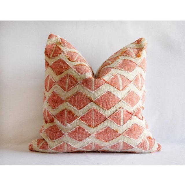 Coral Contemporary Coral Color Diamond Silk Embroidery Pillow Cover For Sale - Image 7 of 7