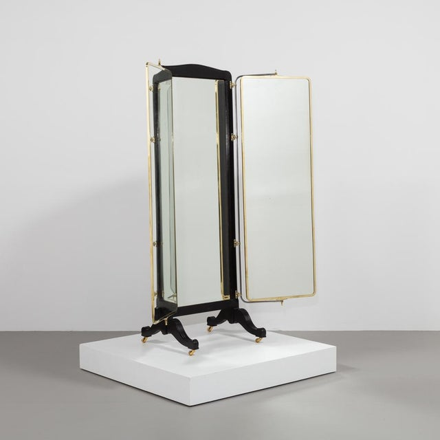 French Brass and Ebonised Wood Mirrored Screen Circa 1890 For Sale - Image 9 of 9