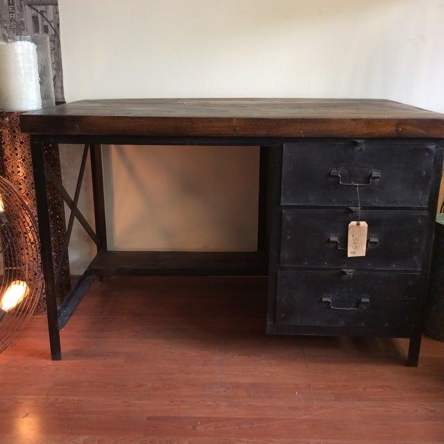Metal and Wood Industrial Desk - Image 2 of 7