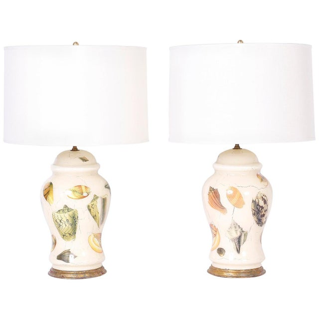 Decoupage Sea Shell Table Lamps - A Pair For Sale - Image 9 of 9