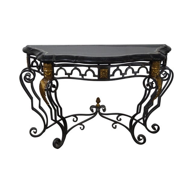 Maitland Smith Marble Top Regency Console Table - Image 1 of 10