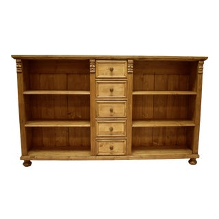 Pine Bookcase or Television Console With Five Drawers For Sale