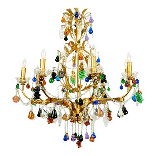 Late 20th Century Venetian Crystal Fruit Design Chandelier